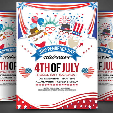 4th of July American flag USA independence day poster Template