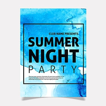 watercolor party poster template design Template