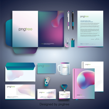 Pngtree stationery with gradients effect, Stationery, Company, Template PNG and Vector