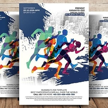 Sport Flyer, Athlete, Athletic, Color Run PNG and PSD