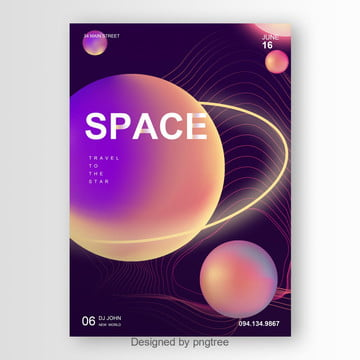 abstract space and plants poster Template
