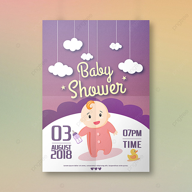 Baby Shower Invitation Design Template For Free Download On