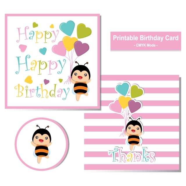 birthday card with cute bee and colorful heart balloons suitable for