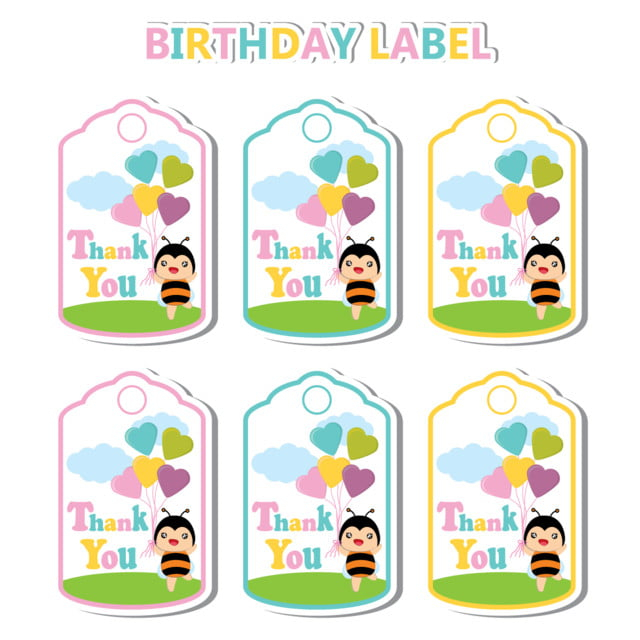 birthday label with cute bee and colorful heart balloons suitable