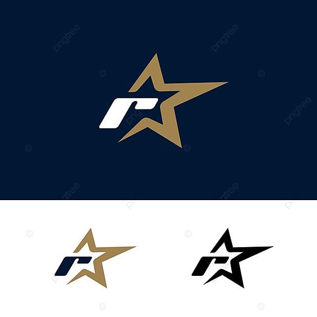 letter r logo template with star design element  vector illustration  corporate branding