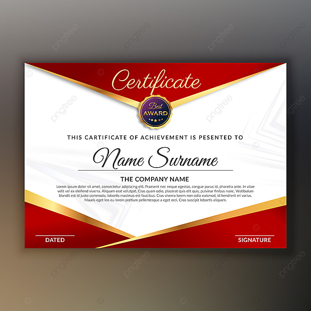 scarlet red award certificate design Template for Free ...