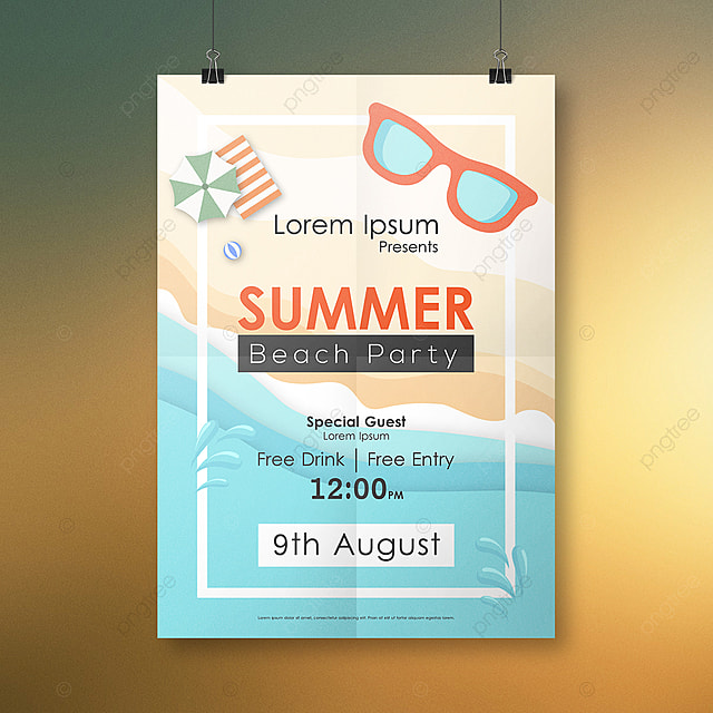 Summer Beach Party Invitation Flyer Template For Free Download On