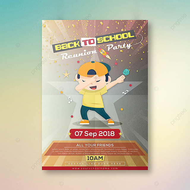 Back To School Reunion Party Poster Template For Free Download On