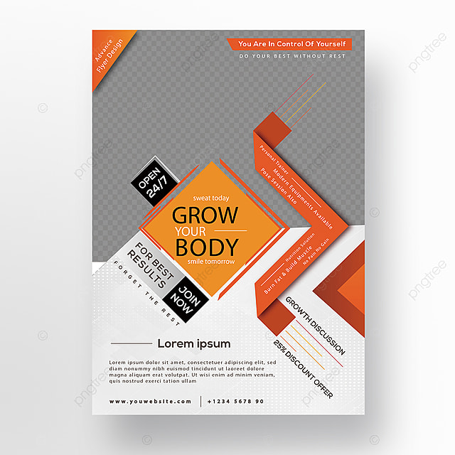 grow your body gym flyer design template for free download on pngtree