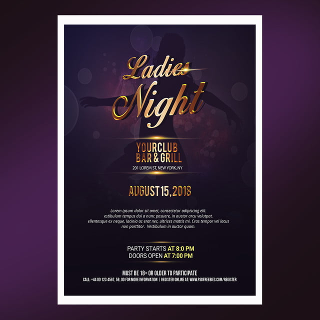 ladies night poster template for free download on pngtree