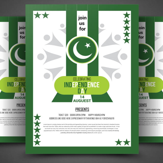 pakistan independence day flyer template