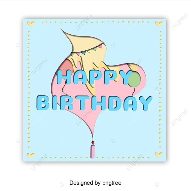 Abstract Birthday Card With Simple Border Template For Free Download