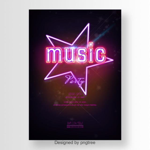 Muzyka Imprezę Plakat Z Różowym światła Migoczą Gwiazdy