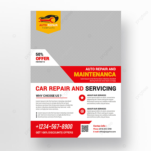 car repair flyer template for free download on pngtree