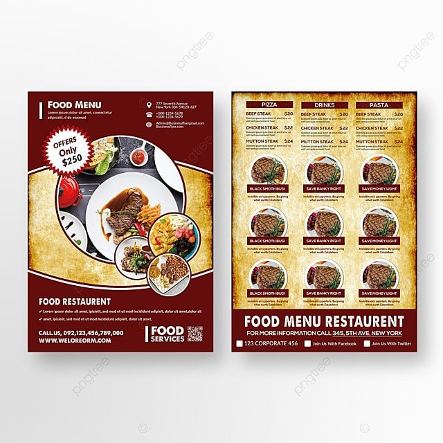 restaurant food flyer template for free download on pngtree