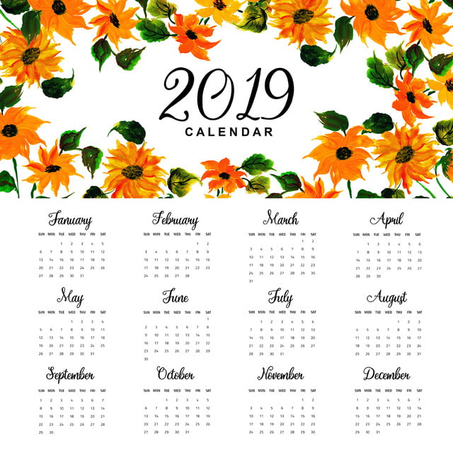 2019 watercolor floral annual calendar template