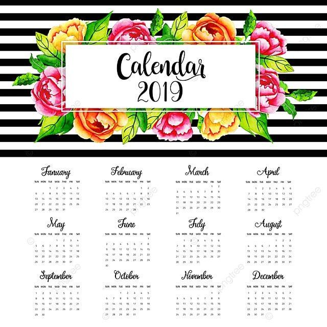 2019 aquarelle floral calendrier annuel mod u00e8le de
