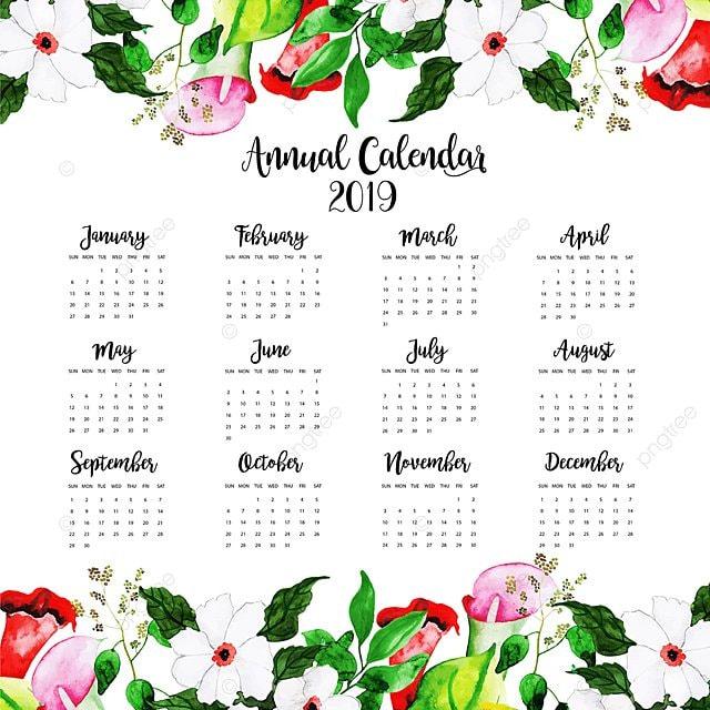 Modelli Calendario 2019.2019 Acquarello Floreale Nel Calendario Annuale Modello Per