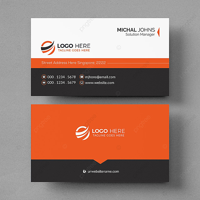 creative black and orange business card template for free