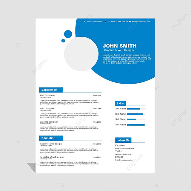 simple curriculum vitae cv template for free download on pngtree