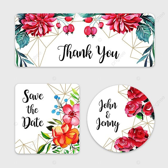Watercolor Fl Wedding Label Collection Template