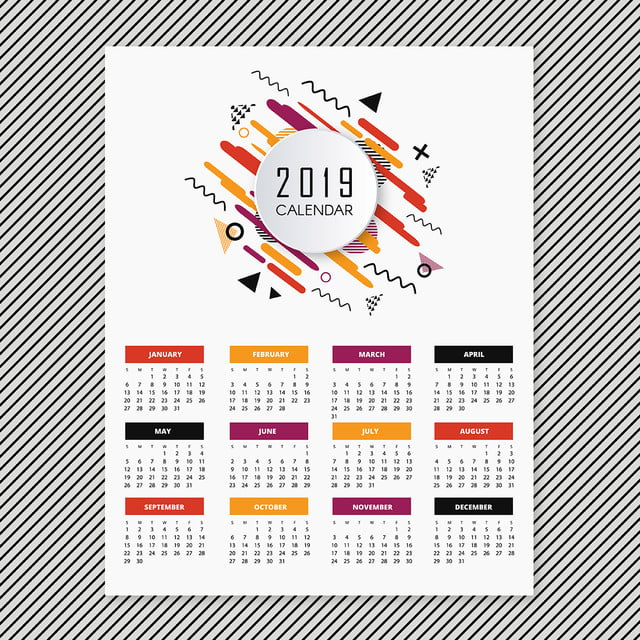 calendrier de conception pittoresque vector 2019 mod u00e8le de