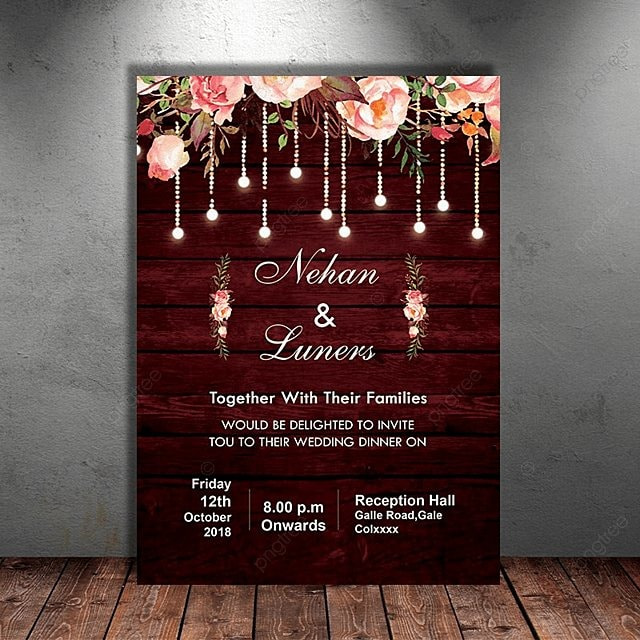 maroon floral rustic wedding invitation template for free