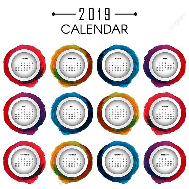 vector colorful 2019 calendar design Template for Free ...