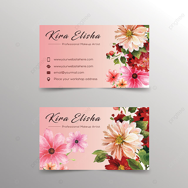 flower business card design template for free download on