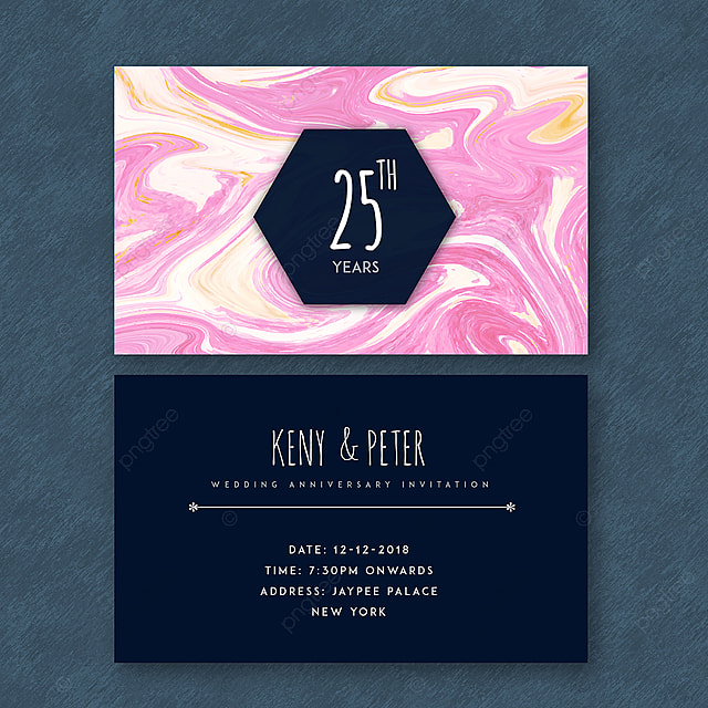 Marble Textured 25th Wedding Anniversary Cards Template For