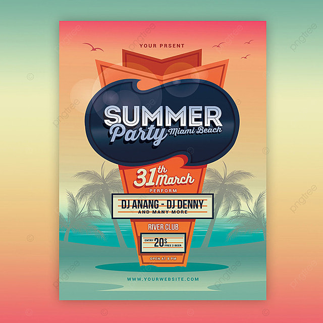 Summer Beach Party Flyer Template For Free Download On Pngtree