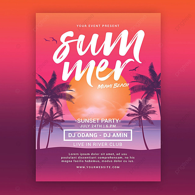 summer beach sunset flyer template for free download on