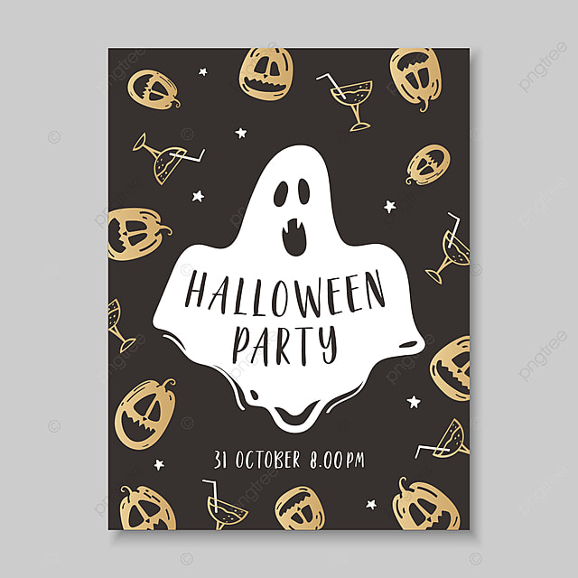 halloween poster in hand drawn style with ominous pumpkins and a ...
