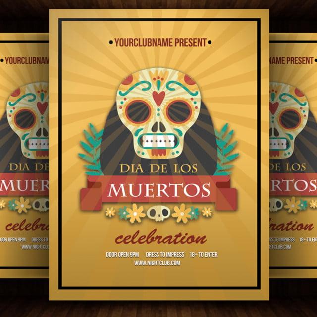 dia das los muertos party flyer template for free download