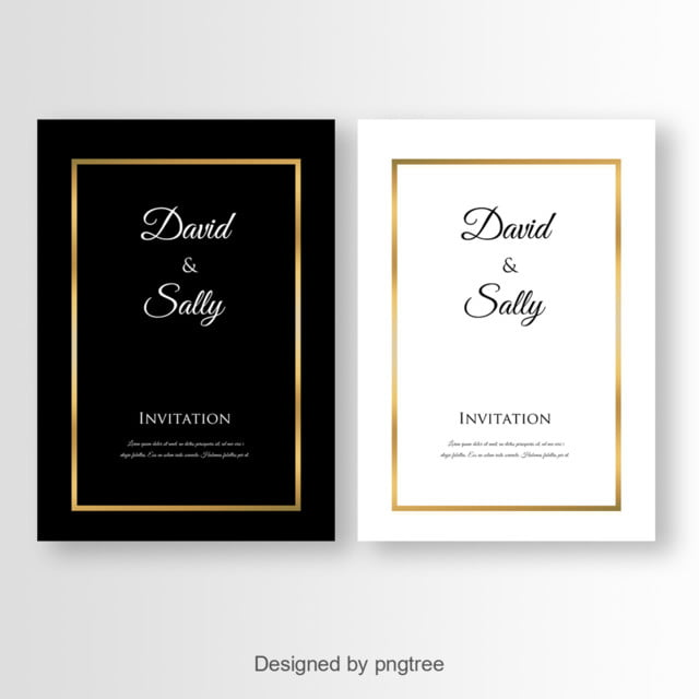 simple black and white wedding invitation template for free download