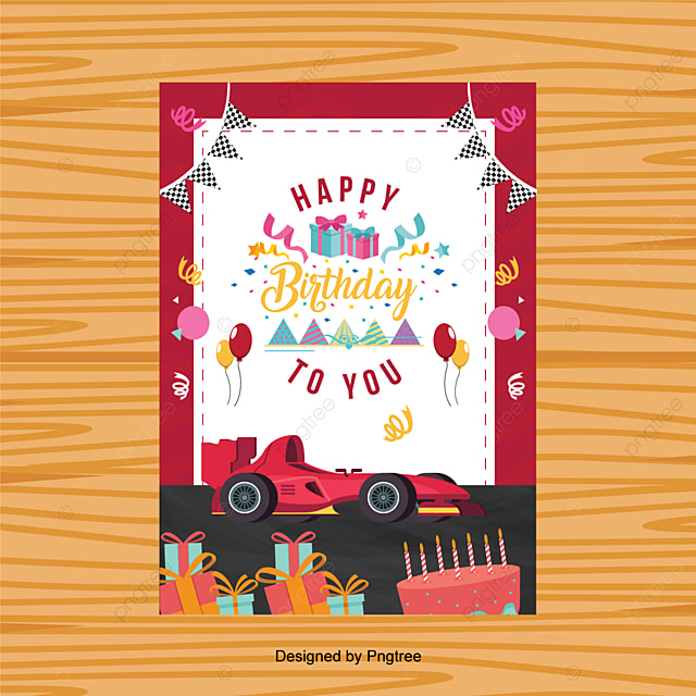 Birthday Card Racing Car Template