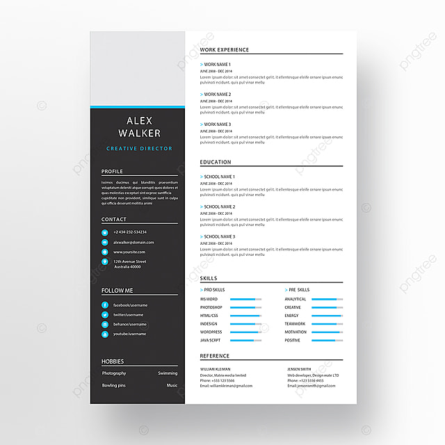 elegant minimalistic modern resume template for free