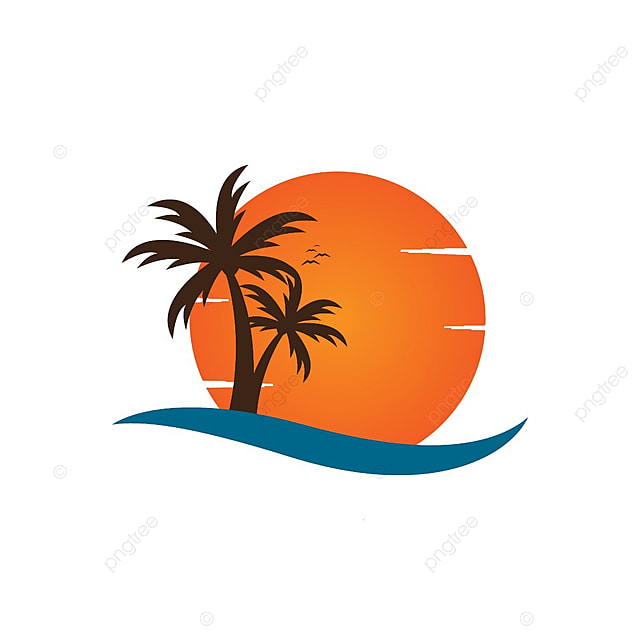 Palm Tree On A Beach Logo Design Template Vector Template