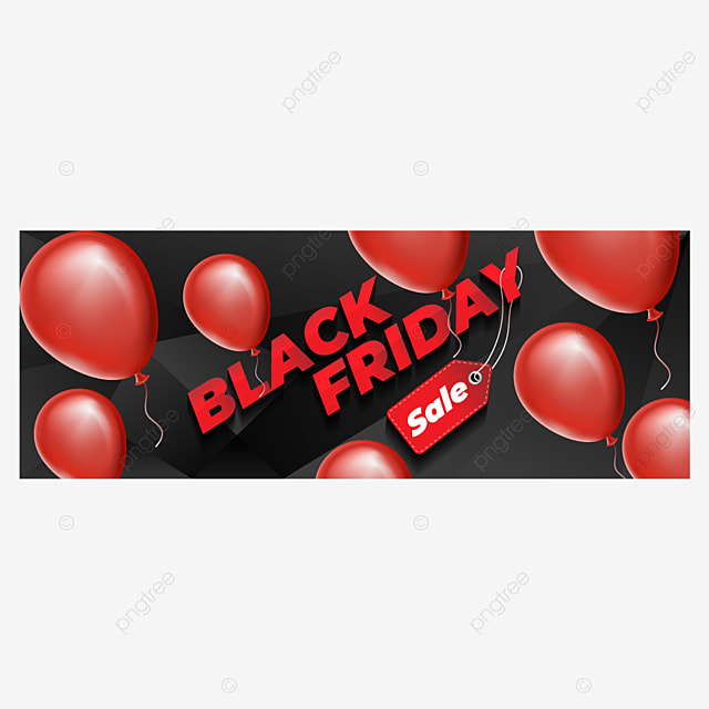 black friday design with red realistic balloons template for free