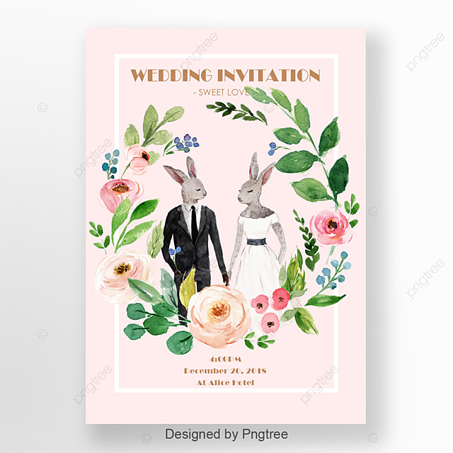 Pale Pink Handmade Animal Flowers Wedding Invitations Template For