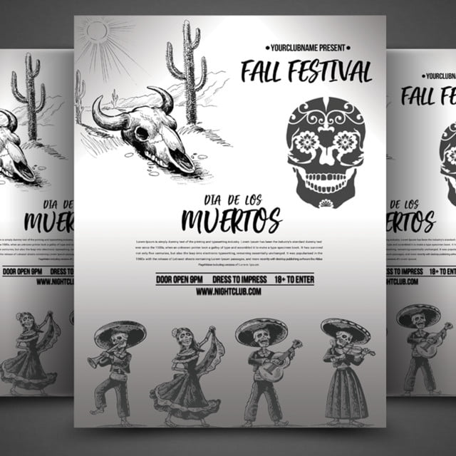 dia das los muertos fall festival flyer template for free download