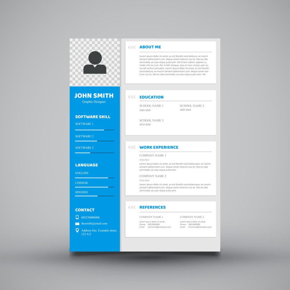 blue white curriculum vitae template modelo para download