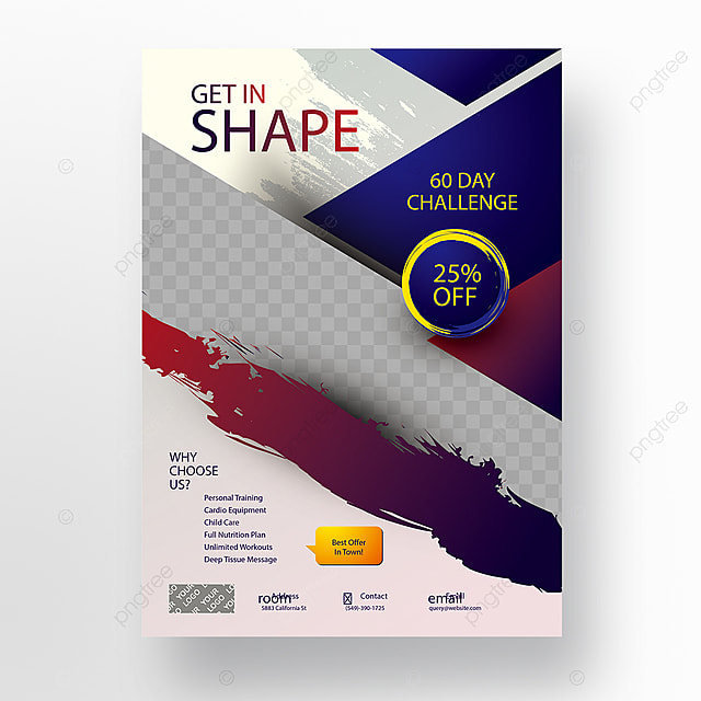 Get In Shape Gym Flyer Template for Free Download on Pngtree
