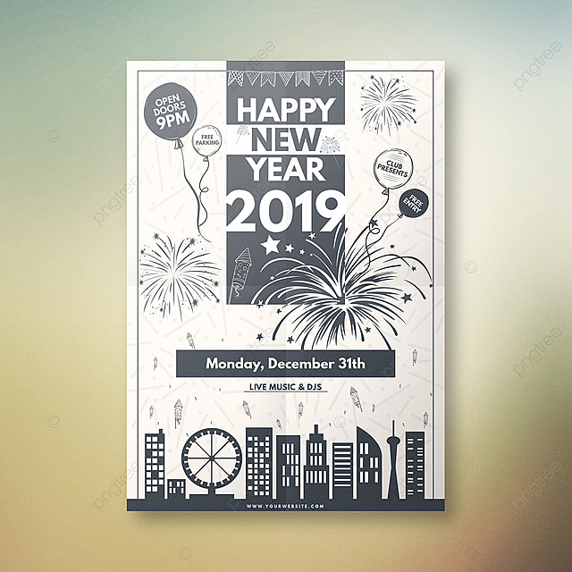 happy new year silhouette poster template
