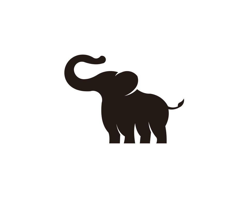 silhouette de l  u00e9l u00e9phant d afrique noire sur fond blanc