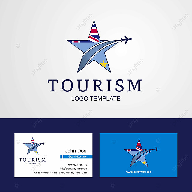 Travel Tuvalu Flag Creative Star Logo And Business Card Design Template