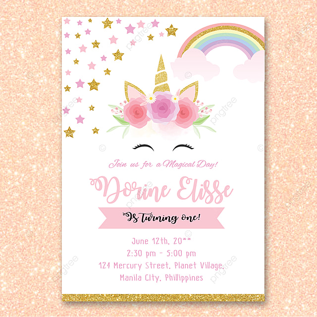 Unicorn Birthday Invitation Template For Free Download On Pngtree