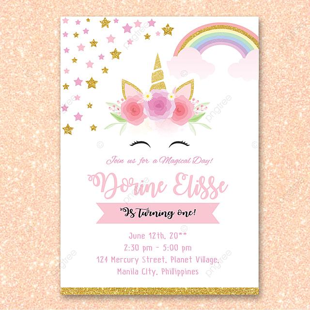 Invitación De Cumpleaños De Unicornio Descarga Gratuita De