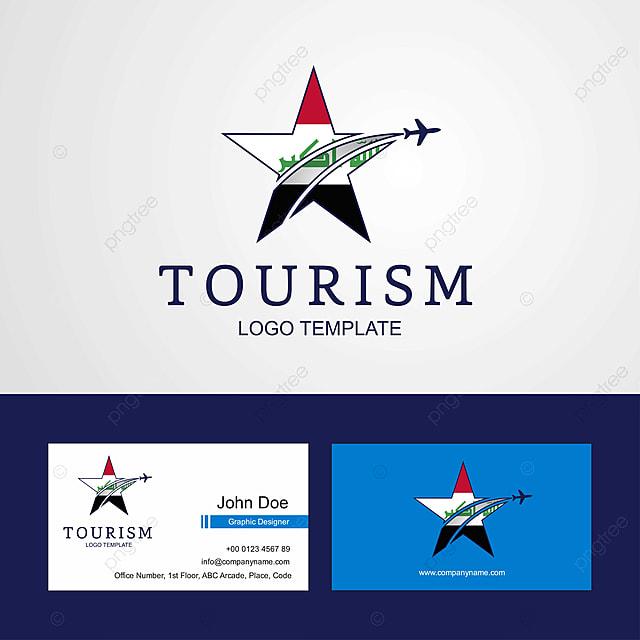 Travel Iraq Flag Creative Star Logo And Business Card Design