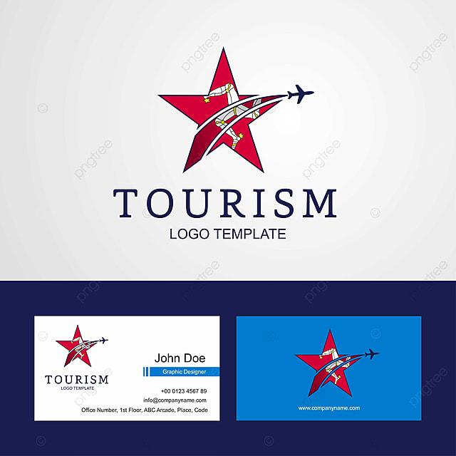 travel isle of man flag creative star logo and business card
